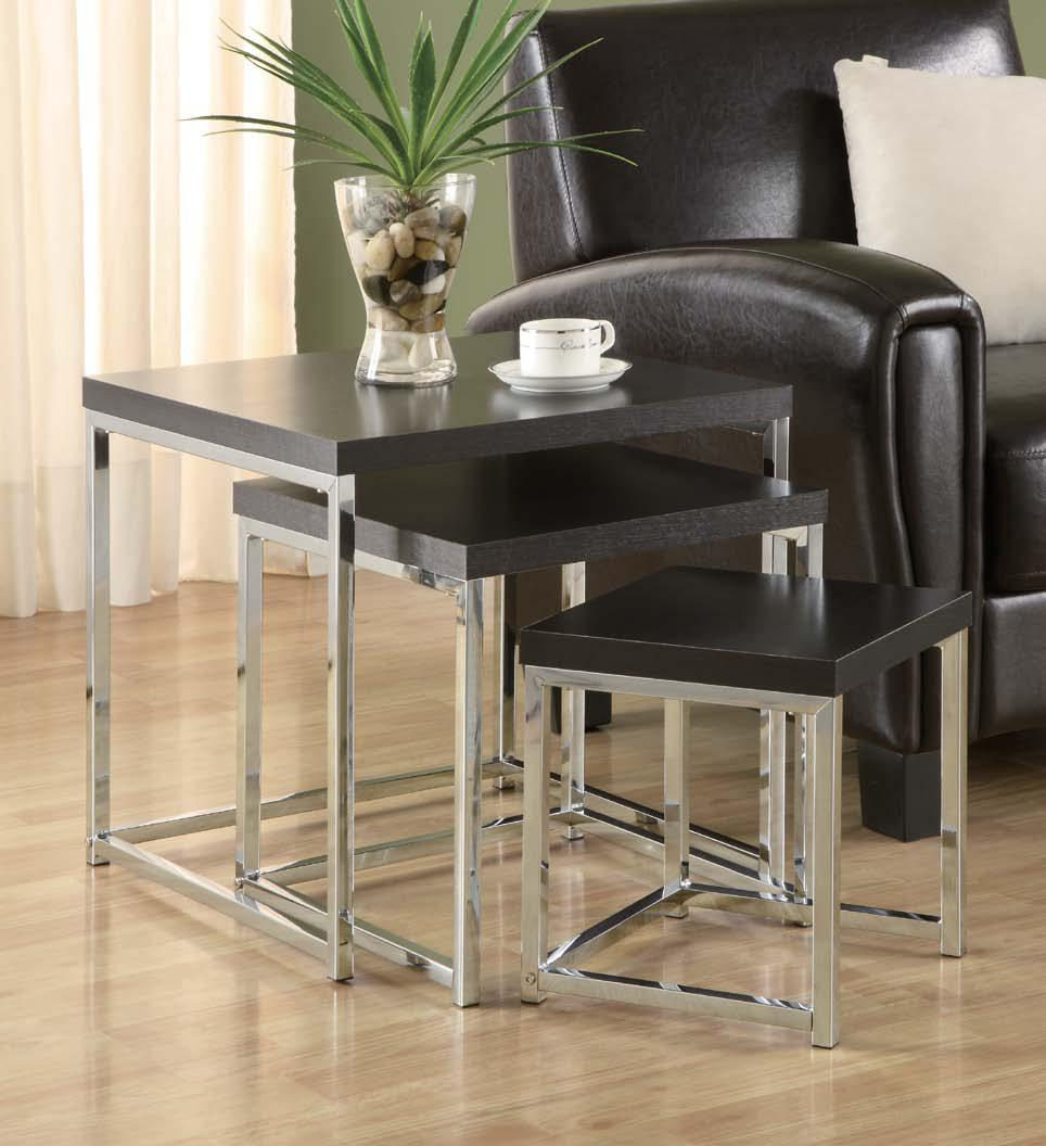 nesting table chrome l toronto furniture rental for home staging
